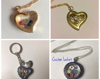 Custom Floating Charm Locket Personalized Keychain Necklace Bracelet OOAK Jewelry Jewellry Christmas Gift Gifts For Her