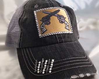 Double Pistol - Bling Hat - Gun Trucker - Swarovski Rhinestones - Crossed Pistol - Trucker Hat - Patch Trucker Hat - 2 guns - NRA Hat