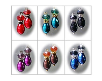 Earrings petite pearl and crystal, choose color, findings and clip on or pierced fittings