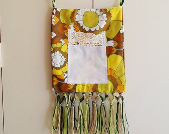Retro Vintage Yellow 60s Print Hippie Festival Upcycled Bag with Fringing