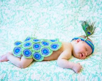 Pretty Peacock Newborn Photo Prop