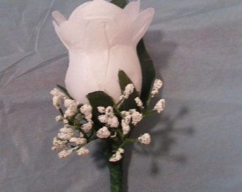 White Rose Boutonniere, Grooms Boutonniere, Tuxedo Flower, Silk Corsage
