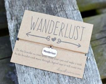 Wanderlust Wish Bracelet, Friendship Bracelet, Travellers Gift, Travellers Bracelet, Cord Bracelet and Card.