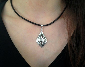 Silver filigree necklace • Leather Cord • Boho • Bohemian • Surfer • Rustic • Hippy