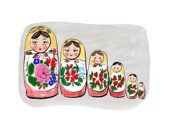 Matryoshka, Russian nesting doll digital print, downloadable digital print, JPEG, wash and ink drawing