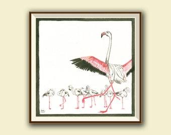 Flamingos painting - flamingo bird art - flamingo art - Bird nursery decor - Original watercolor painting - Juan Bosco