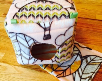 Guinea Pig Fleece Piggy Cube | Hot Air Balloon/ Tie Dye Orange