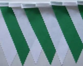 Ireland  Green & White fabric bunting