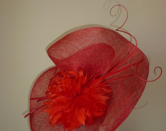 Red Feathered Disc Fascinator