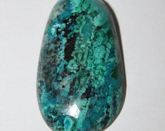 Russian Malachite Chrysocolla Cabochon,  40x23x3 mm