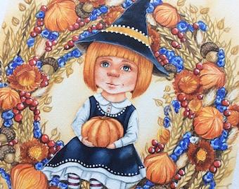 Original watercolor painting - Witch -  Original art painting - Original illustration - Nursery wall art -  Illustration halloween