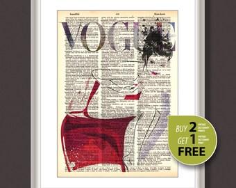 Vintage dictionary print, Vintage fashion art print, Fashion Illustration, fashion art, fashion wall art, Vogue art print, Vogue cover, 3720