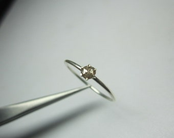 NATURAL  rose cut DIAMOND ring in sterling silver