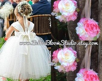 CLEARANCE Flower girl kissing ball Pink Silk Rose Pomander, Flower Ball, Kissing Ball, Flower Girl, Toddler Flower Girl, Wedding Decorations