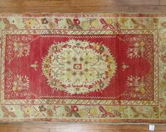 Vintage Turkish Oushak Rug Size 3'3''x5'11''