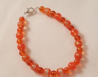 Orange Glass Bead Bracelet - Orange Bracelet - Beaded Bracelet - Orange Jewelry - Women's Orange Bracelet - Women's Bracelet - Single Strand