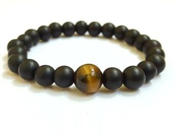 FREE SHIPPING, 8 mm Onyx bracelet, Men bracelet, Tiger eye bracelet