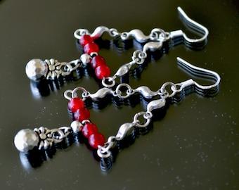 Silver Earrings, Long Silver Earrings, Red Gemstone Earrings, Red Jade Earrings, Jade Earrings, Drop, Dangle (E263)