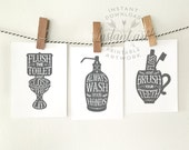 Bathroom art - 3 PRINTABLES: flush the toilet, wash your hands, brush your teeth - dark gray bathroom decor, printable decor