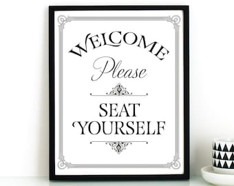 Funny bathroom wall art PRINTABLE,Please seat yourself sign,bathroom art,printable decor,restaurant decor,instant download
