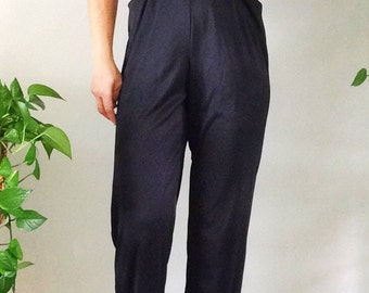 Vintage 1980s/ Glenrob Jumpsuit/1970s Jumpsuit/ Disco Glam/ Sequin/ Black Jumpsuit/Sequin/ Sequin Tube Top/ Metallic Sequin/ Blush Sequin