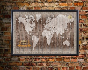 United States USA US Craft Beer Brands Wall Map Poster Decor - Magnetic us wall map