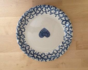 Two Blue Heart Spongeware Plates