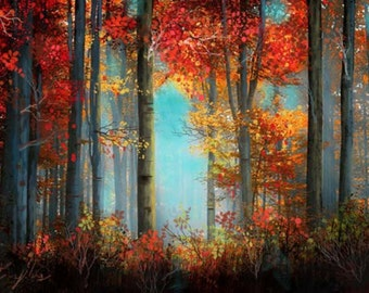 Forest landscape painting Ready to hang   By Chris Art -Size:100x70cm ,  27,6 x 39,4in