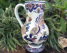"Boch Frères Keramis Delft Pitcher VIEUX RHODES Beaker Delfts Polychroom Kruik Chinois ""Lyrebird"" Flagon Ewer Jug Vaas Vase Belgium *Free S&H"