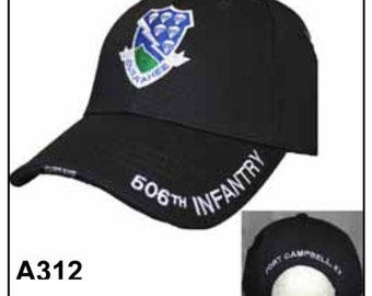 US Army Hat Baseball Cap 506th Infantry Black A312