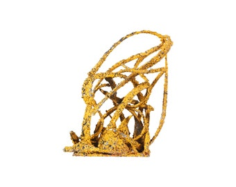 Vintage Yellow Torch Cut Metal Abstract Sculpture