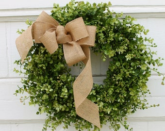 Boxwood Wreath, Farmhouse Decor, Green Wreath, Front Door Wreath, Burlap Wreath, Outdoor Wreath, Year Round Wreath, All Season Wreath