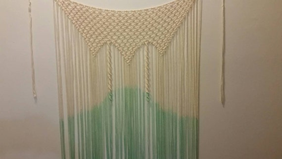Cream ans teal color macrame wall or window hanging