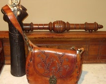 BackToSchoolSale Butterfly Mushroom Tooled Cognac Leather Bag With Medieval Brass Closure Clasp - Very Cool- VGC