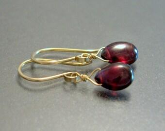 Petite Garnet Earrings, Oxidized Sterling Silver, 14K Rose Gold Fill, Natural Drop Dainty Red Gemstone Earrings January Birthstone