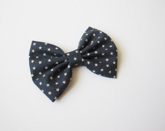 Navy Blue with Stars Little Girl Hairbow | Hair Bow | Baby Bow | Adult Hairbow | Choose Clip or Headband | 4th of July Bow | Blue with Stars