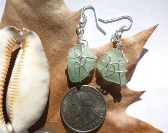 Aqua sea glass dangle earrings wrapped in silver wire, beach glass earrings