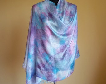 blue pink silk scarf, handpainted scarf, shibori silk scarves, original