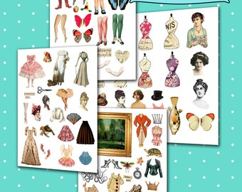 4 SHEETS - Paper Dolls - Altered Art - Digital Collage Sheet -  Scrapbooking - Paper Craft - Whimsical Dolls - Fairies - Instant Download