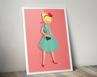 A4 Print - 50's lady - illustration