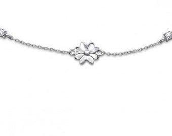 Sterling Silver Flower Chain Bracelet