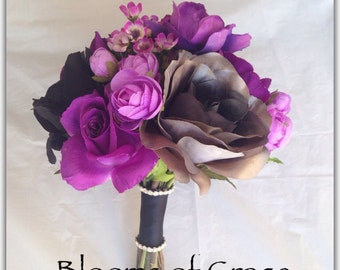 Purple and black bouquet, grey laminated roses, deluxe style. Wedding bouquet.
