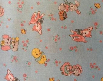 Lecian Retro Childrens Print Fabric -  Old New 1930's Blue Dear Little World  -BTY or 1/2 yard