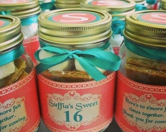 Sweet 16, Sweet Sixteen Birthday party favors, mason jar labels, smores, girls birthday favours, sweet 16 invitation, 12 count