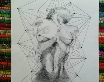 Geometric woman, original art and hand dotted and drawn