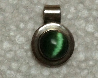 Sterling Silver Mexican Green Stone Pendant