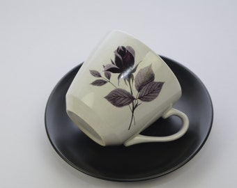 Hostess Tableware British Anchor 'Romance' coffee cup and saucer, black and purple rose design