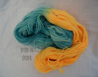 Blue/Orange - Color Opposites - Hand-Dyed / Hand-Painted Yarn - Superwash Merino Wool - Dyed To Order