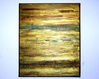 Acrylic abstract painting -  bronze & green  FREE SHIPPING!