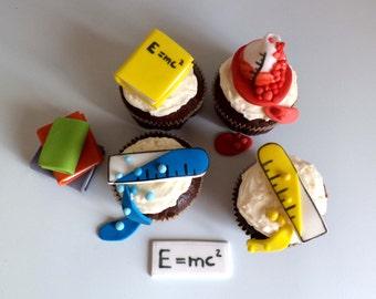 Scientist Edible Fondant 3d Cupcake Topper, Science Chemistry Birthday Party Cake Decor, Books,Beakers -Set of 12